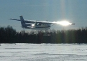 GFT's C150 on Skis departs the snow runway at Gander International Airport